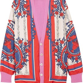 Gucci - Wool-blend trimmed printed silk cardigan