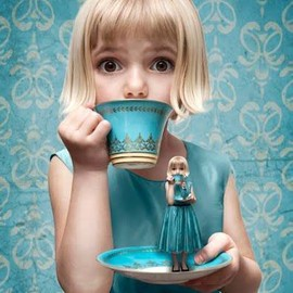 so cute girl with cup&saucer