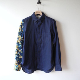 SASQUATCHfabrix  - Eototo Flower Panel Shirt/NAVY