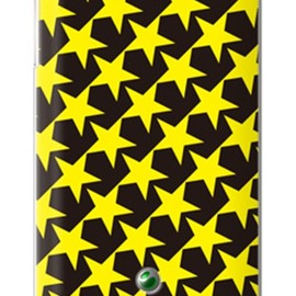 SECOND SKIN - スター TYPE2 ブラック×イエロー (クリア) / for Xperia SX SO-05D/docomo