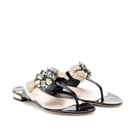 miu miu - PATENT LEATHER SANDALS WITH EMBELLISHED BOW