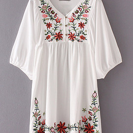 Unknown - Boho Hibiscus Embroidered Dress