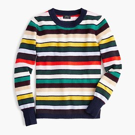 J.CREW - Long-sleeve everyday cashmere crewneck sweater in multistripe