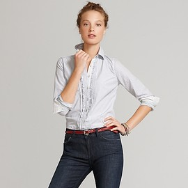TOMMY HILFIGER - Cotton Dobby Shirt With Ruffle Placket