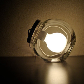 BLIndustries - Modern Glass Jar Lamp with Frosted Light Bulb / Modern Jar Light Fixture