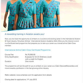 Sri Lankan Airways - Training International Cabin Crew Certificate