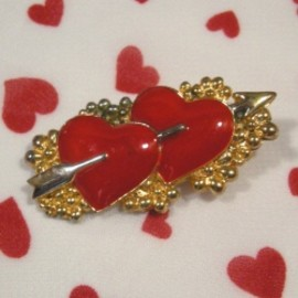 """Double Heart"" Valentine Brooch"