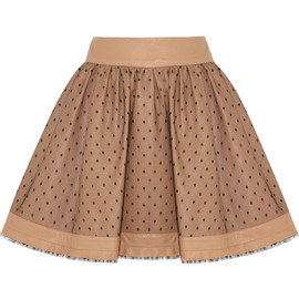 RED VALENTINO - Leather and tulle mini skirt