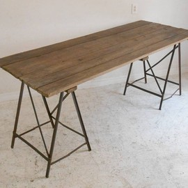 フランス アンティーク - French industrial atlier table(iron reg)