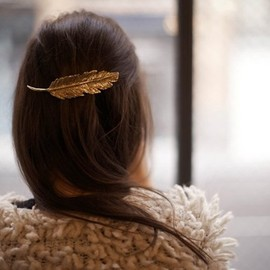 Woodland - Gold Feather Barrette