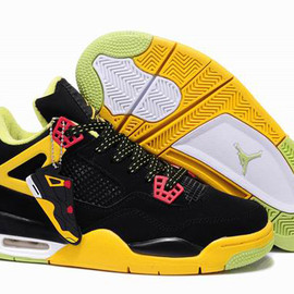 Nike Air Jordan 4 Custom Black Yellow Mens Shoes