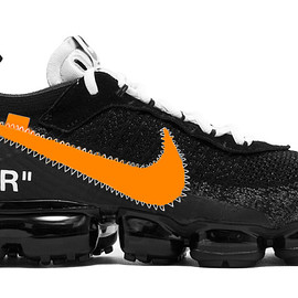 Off-White™️, NIKE - Air VaporMax - Black/Total Orange/Clear