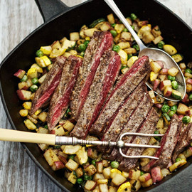 Oprah.com - Flank Steak with Chimichurri and Summer Squash Hash