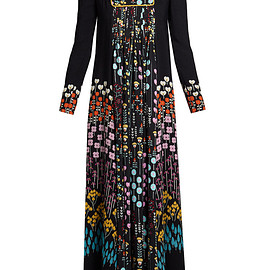 VALENTINO - FW2017 Floral-print long-sleeved crepe midi dress