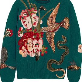 GUCCI - FW2015 Embellished and embroidered wool sweater