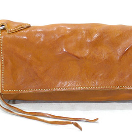 washed leather long wallet
