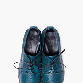 JIL SANDER - Turquoise Paisley Loafer Flats