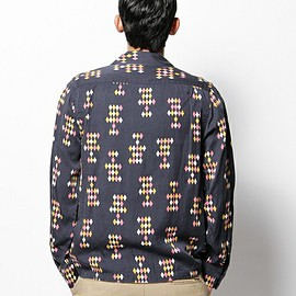 WACKO MARIA - 50's DIAMOND SHIRT L/S NAVY