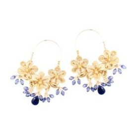 Filigree Flower Kyanite Hoop Earrings