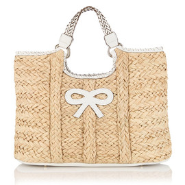 ANYA HINDMARCH - GENE BASKET IN STRAW WITH VELVET CALF