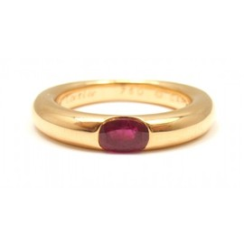 Cartier - CARTIER 18K YELLOW GOLD ELLIPSE RUBY RING, EUROPE 56, US SIZE 7
