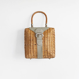 Vintage 60s Wicker Basket Handbag with Leather Buckle