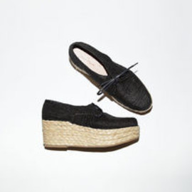 CARVEN - Carven / Braided Straw Wedge Oxfords