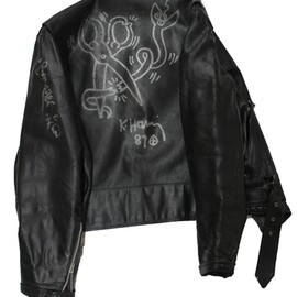 Keith Haring - Leather Jacket (with Unique painting) by Keith Haring