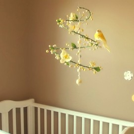 PinkPerch - Yellow Spring Time Spiral Mobile with Perched Bird, Butterflies, and Flowers