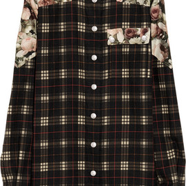 GIVENCHY - Brown check cotton-blend collarless shirt with roses print details