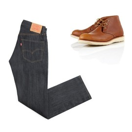 Levi's Vintage Clothing - 1967 505 raw denim jeans red wing chukkas LEVIS VINTAGE 1967 505 + RED WING CHUKKAS   SA KIS 30% SALE