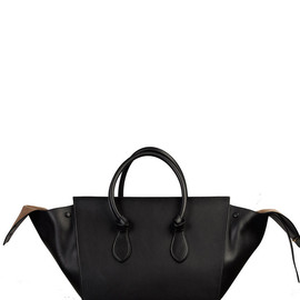 CELINE - Tie Handbag Natural Calfskin Black