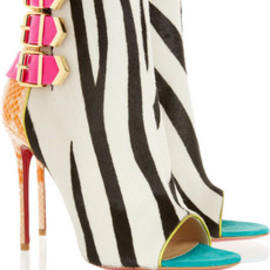 Christian Louboutin - Christian Louboutin  Triboclou 100 zebra-print calf hair and python ankle boots