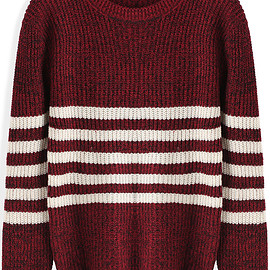 Romwe - Round Neck Striped Knit Red Sweater