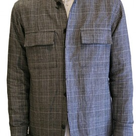 Umit Benan - STAND COLLAR JACKET B&W CHECKS