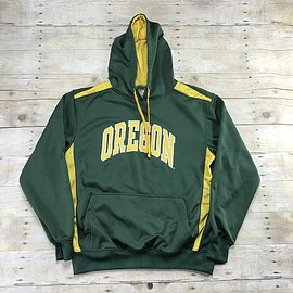 Vintage Mens Goods - University of Oregon Green/Yellow Hooded Sweatshirt Mens Size Medium