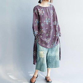 large size shirt - Loose large size Women blouse Asymmetrical shirt/Dark green/ dark purple
