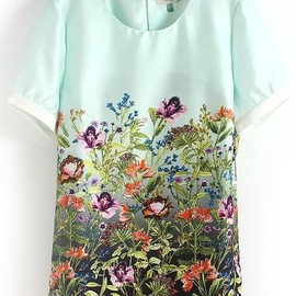 SheInSide - Light Green Short Sleeve Floral in Bloom Print Blouse