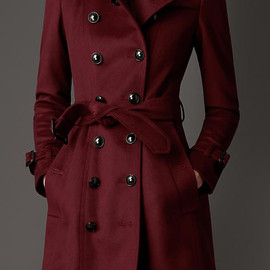 BURBERRY - Leather Detail Wool Cashmere Trench Coat