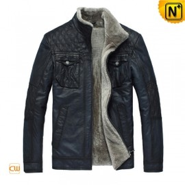 CWMALLS - Mens Blue Fur Leather Jacket www.cwmalls.com