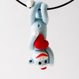 Luulla - Blue Sock Monkey Pendant Swinging Upside Down holding a Valentine's Day Heart