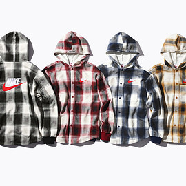 Supreme, NIKE - Cotton blend Hooded Sweatshirt with button front closure and embroidered logos.