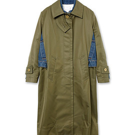sacai - Gabardine Coat w/Denim Detail