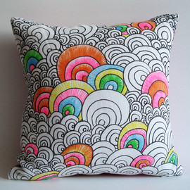 sukanart - Sukan / Original Pen Hand Drawing Pillow Cover - 14x14 inch -Pink White Black Orange Green Yellow Blue