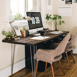 beautiful wooden desk space.