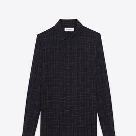 Saint Laurent Paris - Ecrin-Collar Shirt (Black & Red / Sketch Square Print Viscose)