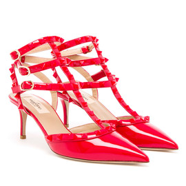 VALENTINO - Studded Patent Leather Kitten Heels