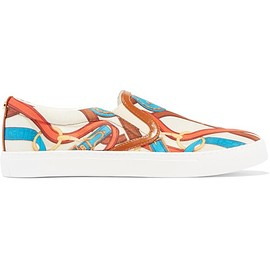 Sam Edelman - Pixie faux leather-trimmed printed satin sneakers