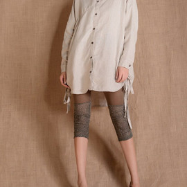shirt - Linen bat Long sleeved shirt/ hem drawstring blouse shirt In Beige