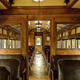 Classy old leather and wood. Halton Railway Museum - Vintage train interior